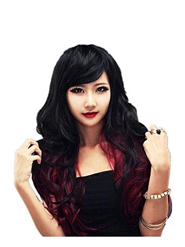 Meylee Perücken Mode weibliche Anime Perücke Farbverlauf schwarz Wein rotes Haar Perücken (80er Jungs Für Jahre Mode)