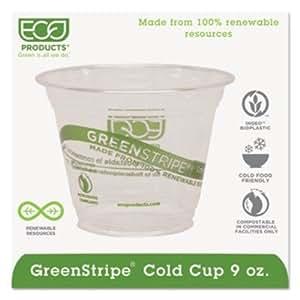 Eco EPCC9SGS Kompostierbare Corn Clear Plastic Cups 9 Oz Klar / Green Stripe 50/Bags 1000/CT
