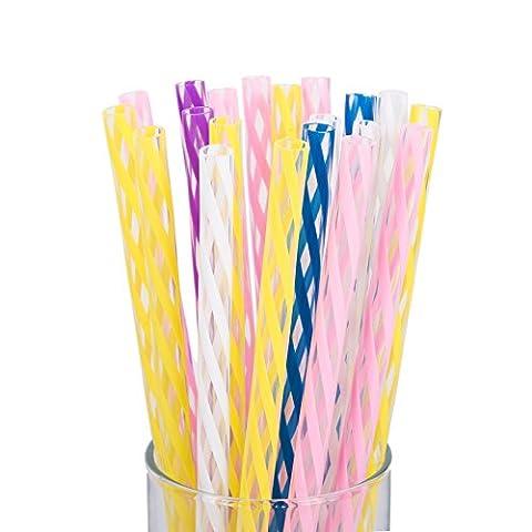 Rétro coloré clair rayé pailles pour enfants et adultes–durable Plastique 150
