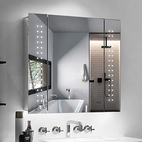 Quavikey LED Spiegelschrank Aluminium Badezimmer Spiegelschrank mit Beleuchtung Lichtspiegelschrank Hinterbeleuchtung Rasier Steckdose Antibeschlag IR-Sensor Schalter 65x60cm
