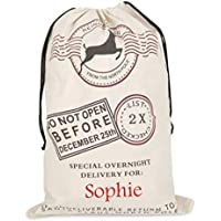 Large Canvas Christmas Sack Stocking Gift Bag - Personalised with Name(s)