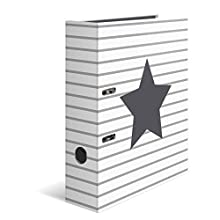 HERMA Lever Arch File Stars with White Striped Motif, A4, 70 mm Spine, with Inner Print, 1 Folder