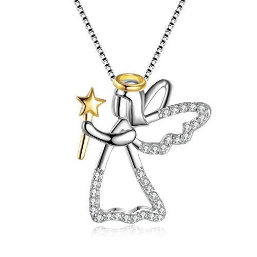 Collar de ángel de la guarda de plata de ley 925 con colgante de alas de ángel para mujeres y niñas de 45,7 cm
