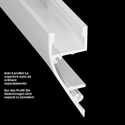 Profilo stretto in alluminio anodizzato per montaggio a parete per striscia LED 2m S-Line Wall White