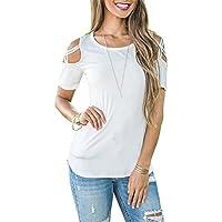 TAIDUJUEDINGYIQIE 2018 Modelos de explosión Cuello Redondo Manga Corta Blusa Fuera del Hombro Camiseta, Blanco, S