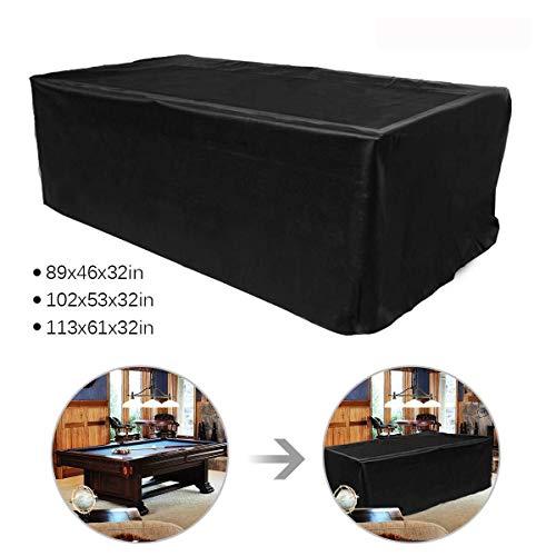 YMYP08 7/8/9-Fuß-Billardtischabdeckung, wasserdichtes Hochleistungs-Billardtuch aus Polyester for Snooker-Tischschutz schwarz (Size : 113 * 61 * 32in)