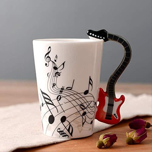 KYSM Keramik Musik Tasse Becher Musikinstrument Tasse Kreative Kaffeetasse 250 ml Red Guitar Free