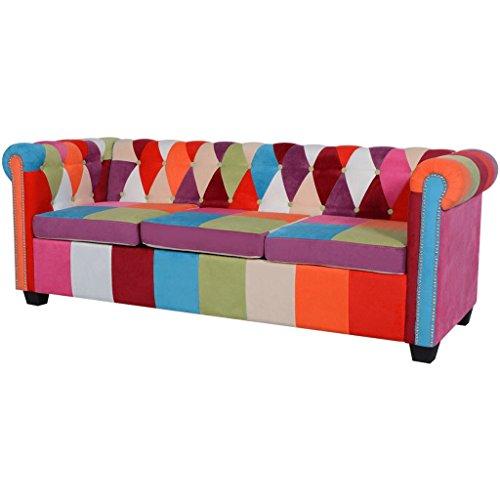 vidaXL Chesterfield Sofa 3-Sitzer Loungesofa Couch Stoffsofa Polstersofa Design