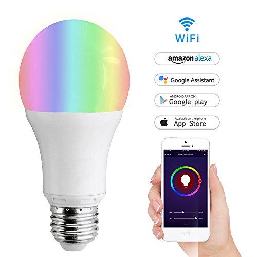 Wifi Smart Birne,LYASI Mehrfarbige LED Dimmbare Lampe 7W RGB Glühbirne,Smartphone gesteuert Tageslicht & Nachtlicht,arbeitet mit Alexa und Google Home Fernbedienung von IOS & Android (7w-E27)