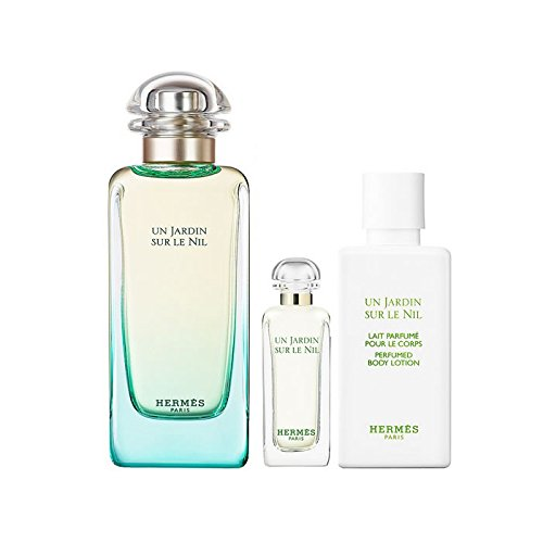 Hermes Un Jardin Nil 100ml EDT Eau de Toilette Spray + 40ml Body Lotion + 7.5ml EDT Miniatur (7,5 Spray Mini Ml)
