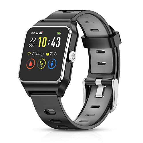 HolyHigh Reloj Inteligente Smartwatch Mujer Hombre Impermeable IP68 Pantalla Táctil Pulsera de...