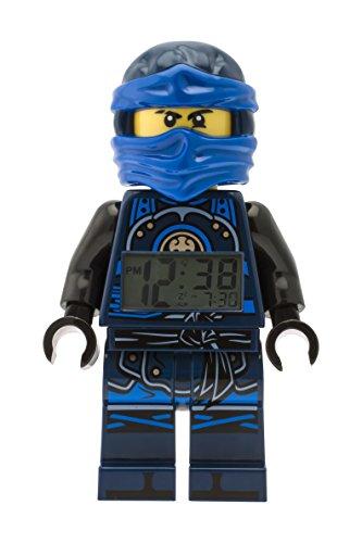 LEGO Ninjago Hands of Time Jay Kinder-Wecker mit Minifigur und Hintergrundbeleuchtung | blau/schwarz | Kunststoff | 24 cm hoch | LCD-Display | Junge/ Mädchen | offiziell