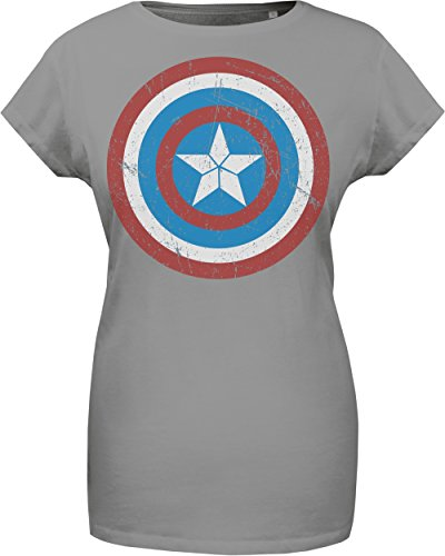 GOZOO The Avengers T-shirt Donna Captain America's Shield 100% Cotone Grigio XL