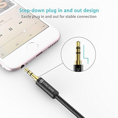 Syncwire Audio Verlängerungskabel Kopfhörer Verlängerungskabel – 3.5mm Aux Verlängerungskabel für Kopfhörer, Apple iPod iPhone iPad, Smartphones, MP3 Player – 1m Schwarz - 4
