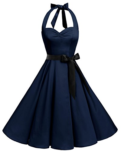 bbonlinedress 1950er Neckholder Vintage Retro Rockabilly Cocktail Party Kleider Navy 2XL