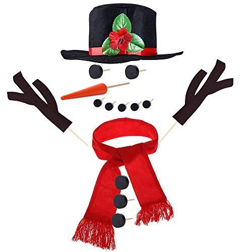 FTXJ Weihnachts-Schneemann-Kostüm, 15-teiliges Schneemann-Dekorationsset, Schneemann, Bastelset, Winter-Party, Kinder Outdoor-Spielzeug, mehrfarbig, 15pcs
