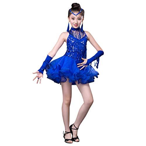 Zhhlinyuan Kinder Pailletten Quasten Dance Kleid Mädchen Lateinisches Tanzkleid - Ballroom Children Wettbewerb Kostüm Kleid, Size 110cm-160cm