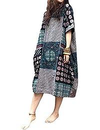 2eee932a7a KIMODO Women Cotton Linen Loose 3 4 Sleeve Pocket Long Bohe Dress Floral  Kaftan