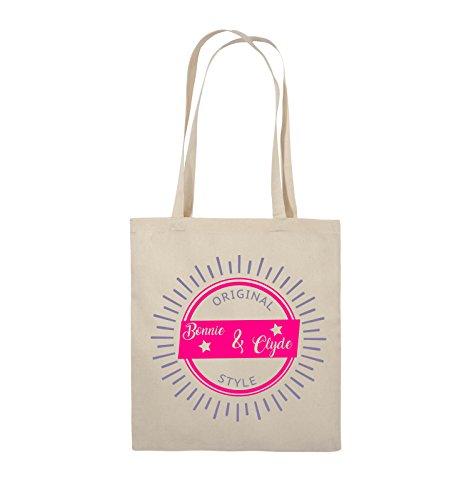 Borse Commedia - Bonnie & Originale Stile Clyde - Brillare Motivo - Juta - Manico Lungo - 38x42cm - Colore: Nero / Bianco-naturale Rosa / Colore Rosa-viola
