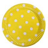 Meowoo Piatti Carta paper plates Piatti Di Carta Monouso per cena,partito,caramella,torta,frutta,ideale per piatti caldi e freddi - 100pezzo,18cm, punto(Giallo)