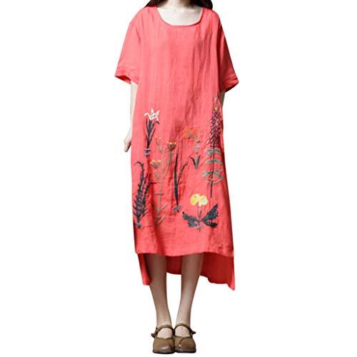 TUDUZ Vestidos Mujer Versión Coreana del Bordado Suelto Ramie Cómodo Vestido (Naranja, XL)