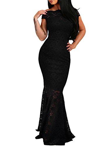 Azbro Women's off Shoulder Lace Fishtail Maxi Dress Black