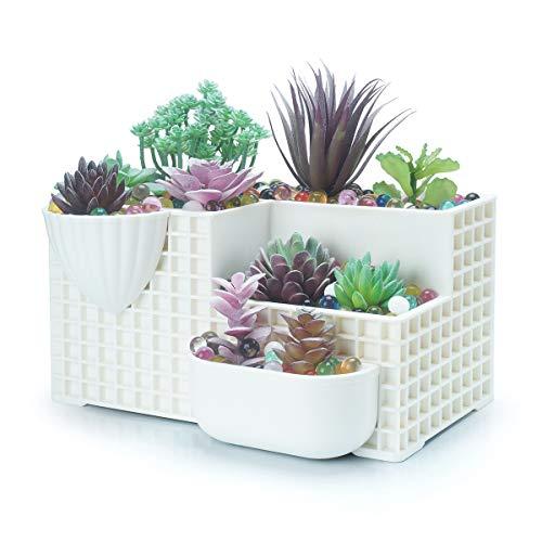 kulente Töpfe eckig, Desktop Bonsai-Baum Stand groß Formschnitt-Pflanzgefäßen Kaktus Getopfte Halter Fenster/Wand aufhängen Übertopf Blumen Container ()
