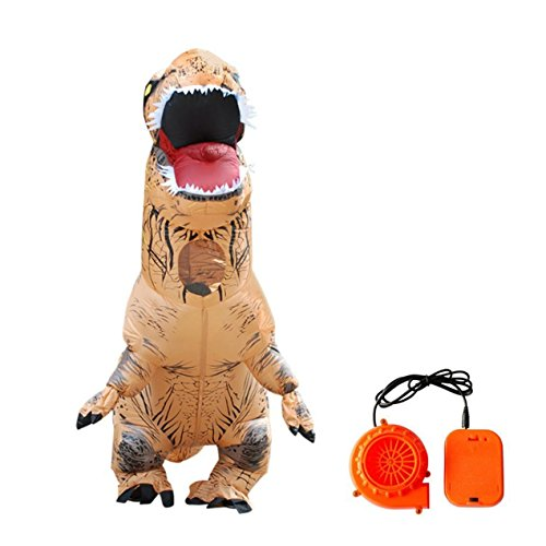 Dooret Halloween Erwachsene Aufblasbare T Rex Dinosaurier Party Kostüm Lustige Kleid Brown mit Air Pumper, für Kinder Höhe von 1,2-1,4 Mt