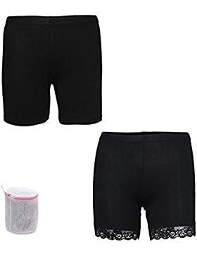 3 Pack Pantaloncini Corti Donna in Cotone Modal Mutandine Boxer Pizzo Floreale Biancheria Intima Lingerie Slip...