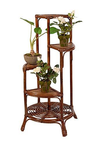 Rattan Blumenständer hoch Blumensäule korb aus Rattan Braun Blumentreppe Innen Blumen Etagere Blumenampel -