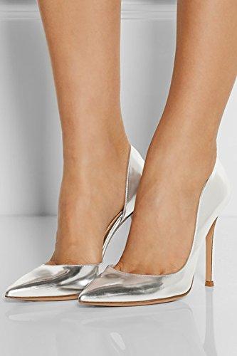 EDEFS - Escarpins Femme - 10cm Talon Haut Aiguille - Bout Pointu A Enfiler Chaussures Argent