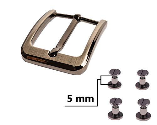 My Belt - Gürtelschnalle 40mm mit Gürtelschrauben 5mm, Schnalle für Gürtel mit Schraubnieten Set, Gürtelnieten, Dornschließe, Nieten für Leder, Gunmetal