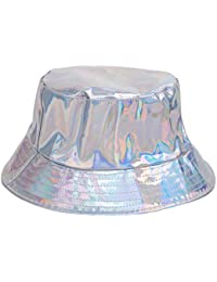 BFD One Holographic Bucket Hat Shiny Metallic PVC Bucket Hat Silver Gold  Mens Womens Sun Hat 316c1329093e