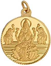 Bangalore Refinery 2 Gm Round Lakshmi 24k (999) Yellow Gold Pendant.