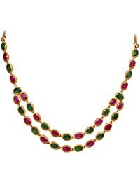 Joyalukkas Ratna Collections 22k (916) Yellow Gold and Emerald Necklace for Women