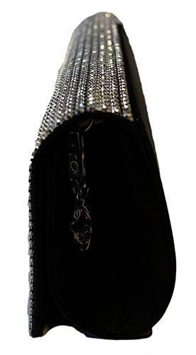 Clutch sposa borsa borsetta borsa da sera donna Party Gala Nero