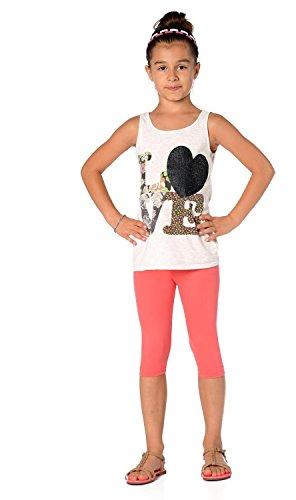Kinder 3/4 Leggings in 22 Farben Baumwolle, Gr. 92 bis 158 cm, p701 Rosa 152 Rosa Capri-set