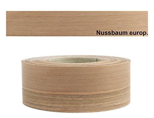Mprofi (5m Rolle) Echtholz Kantenumleimer Umleimer Furnier Nussbaum europ. SK mit Schmelzkleber zum Aufbügeln 60mm Breite OR5