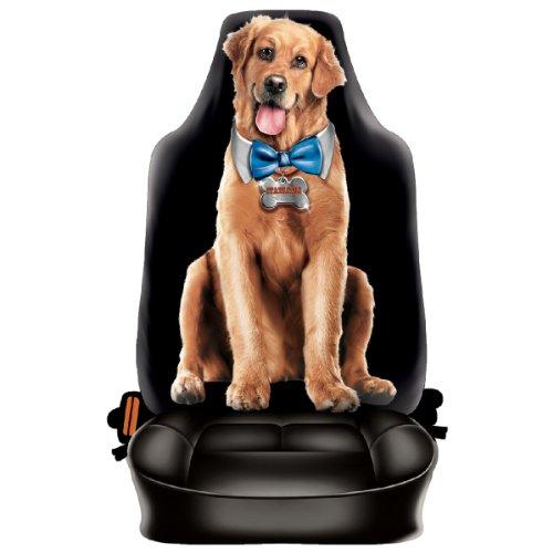Preisvergleich Produktbild Lustiger Fun Auto-Sitzbezug: Süsser Hund mit Schleife - Täuschend echt