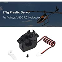 Price comparsion for Dailyinshop 7.5g Plastic Gear Analog Servo 4.8-6V for Wltoys V950 RC Helicopter Airplane Part Replacement Accessaries(Color:Black)