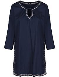 Robe Tunique Caftan bleu marin en Coton à détail brodé main
