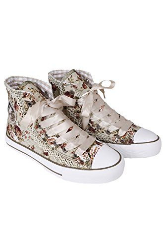 Krüger - Damen Trachtenschuhe, Sneaker Rokoko (Artikelnummer: 4124-15), Größe:42, Farbe:Natur