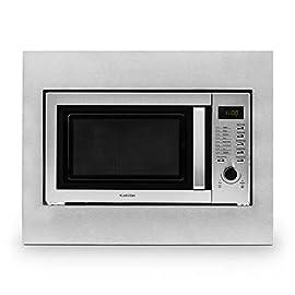 Klarstein Steelwave forno a microonde (800 Watt, 23l, a incasso, piatto girevole, 8 programmi automatici, display LCD, timer) - argento