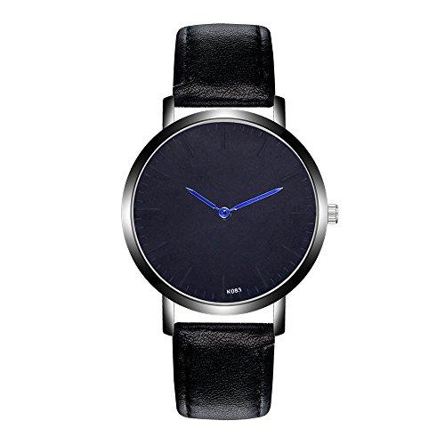Jiameng orologio da polso, moda elegante orologio classico orologi analogici del quarzo della lega analogica della banda di cuoio di modo nuovi orologio da cintura k083-2 (nero)