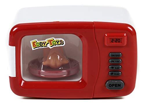 Eddy Toys Mikrowelle für die Kinderküche mit Licht und Ton, drehende Platte mit Kunststoff-Hendl, An/Aus-Schalter, Türöffner, Batteriebetrieb