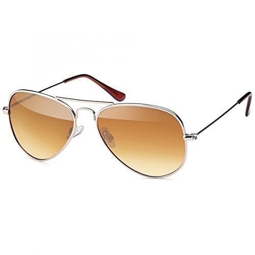 Retro Polarisiert Piloten-Brille Sonnen-brille Etui Nerd 20272 Braun