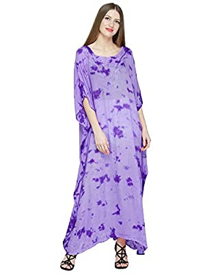 SKAVIJ Womens Soft Beach Cover Up Embroidered Rayon Tie-dye Long Kaftan Maxi Dress Green