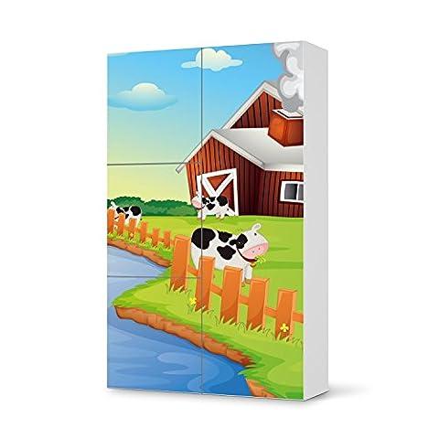 Kinder-zimmer gestalten für IKEA Besta Schrank Hochkant 4 Türen (3+1)   Möbel-Folie Sticker Dekosticker   Dekorationsideen Kinderzimmer Möbel Einrichtungsideen   Kids Kinder Cowfarm 2