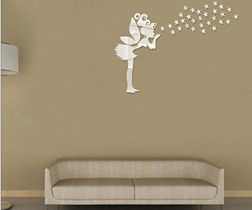 Bella fata ragazza argento specchio Stickers murali con twinkle ...