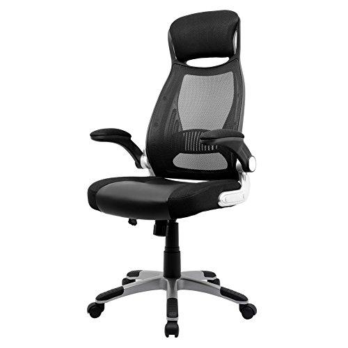 Sedia da ufficio ergonomico, intimate wm heart sedia da ufficio schienale alto poltrona girevole, con poggiatesta, braccioli pieghevoli, sedia del computer inclinazione oscillante, nero